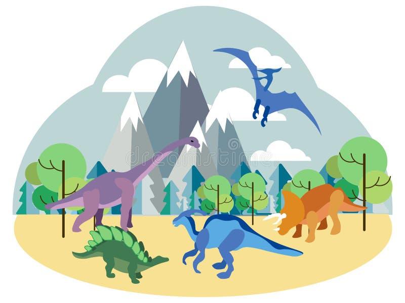 Dinosaurios, animales prehist?ricos en la naturaleza, sistema En vector plano de la historieta minimalista del estilo libre illustration