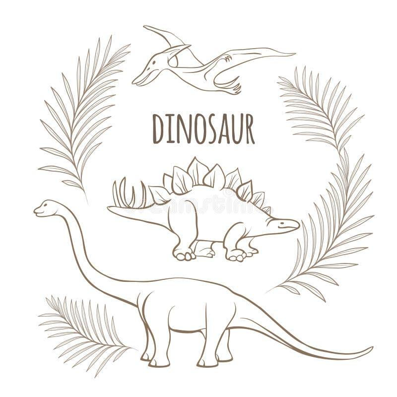Dinosaurios antiguos y bosquejo monocromático del esquema de las ramas de la palma stock de ilustración