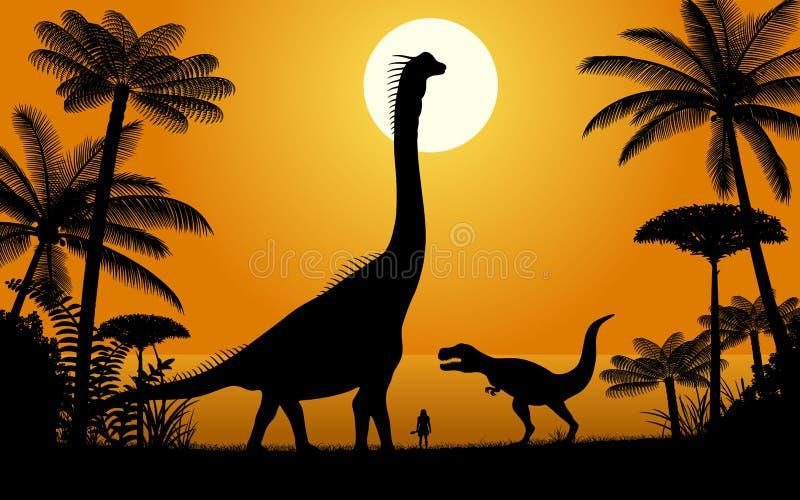 Dinosaurios - Brachiosaurus y tiranosaurio stock de ilustración