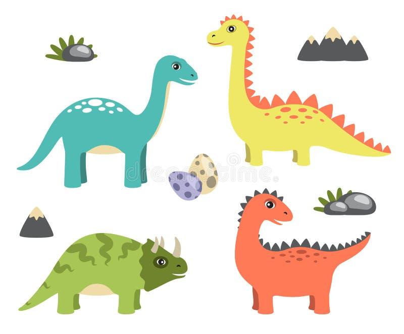 Dinosaurios colección y ejemplo del vector de los iconos stock de ilustración