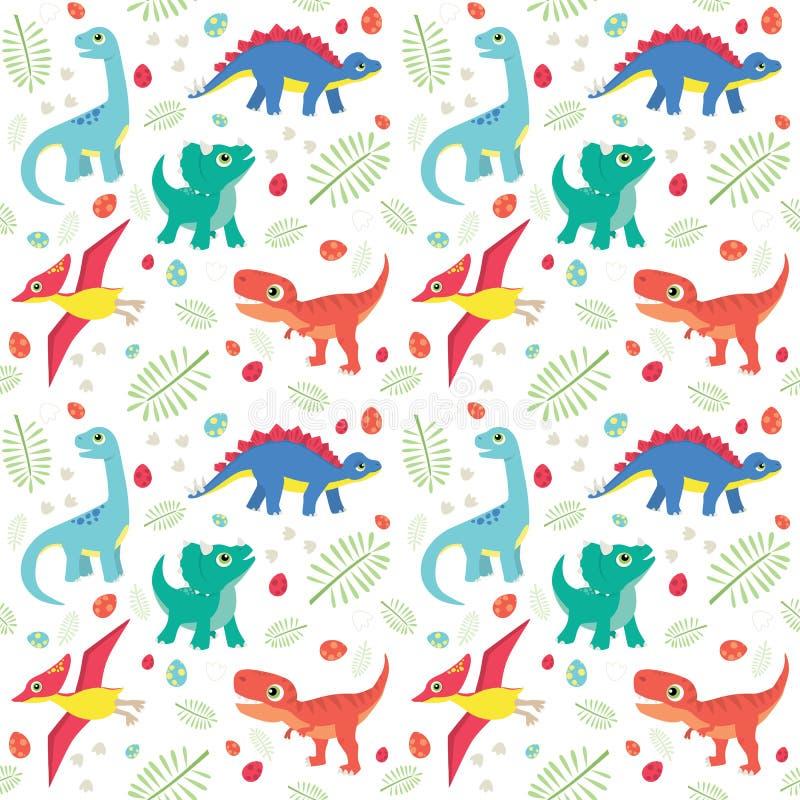 Dinosaurios coloridos lindos del bebé en el ejemplo plano del vector del modelo inconsútil blanco del fondo stock de ilustración
