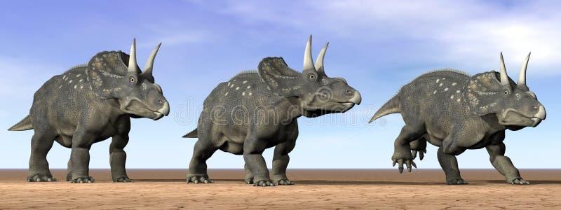 Dinosaurios de Diceratops en el desierto - 3D rinden ilustración del vector