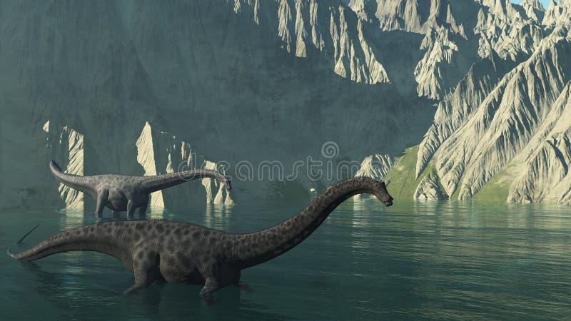 Dinosaurios del Diplodocus cerca de un acantilado ilustración del vector
