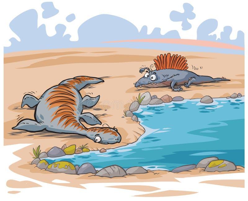 Dinosaurios divertidos de la historieta stock de ilustración