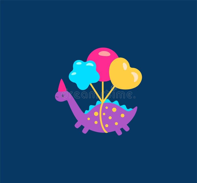 Dinosaurios divertidos de la historieta con el icono del ejemplo de los globos Ilustración del vector libre illustration