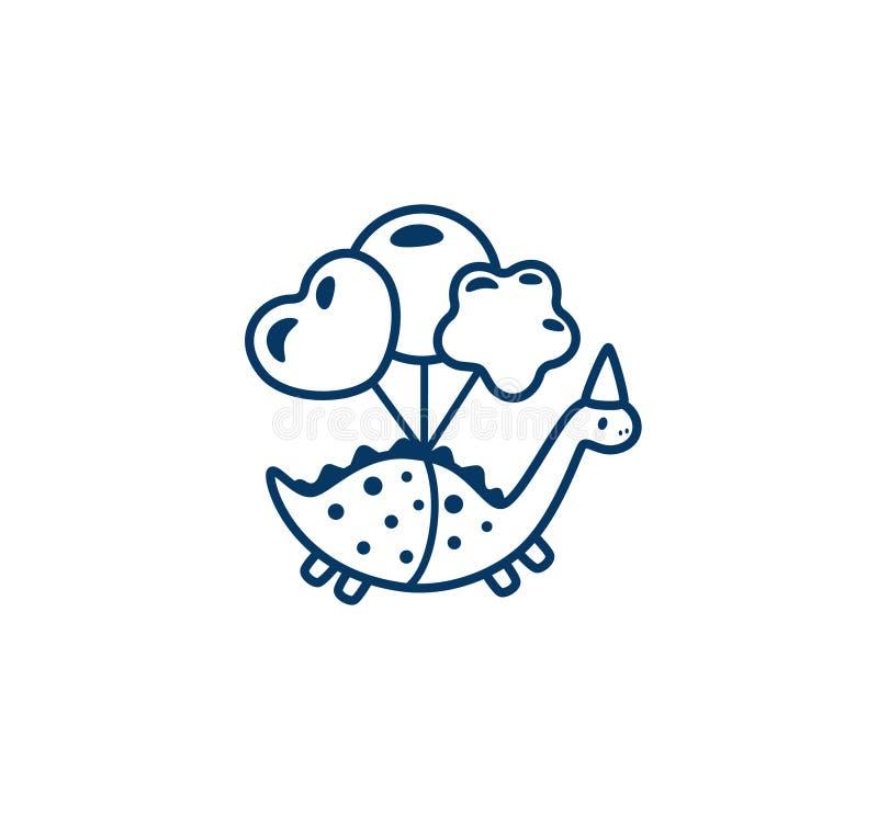 Dinosaurios divertidos de la historieta con el icono del ejemplo de los globos Ilustración del vector ilustración del vector