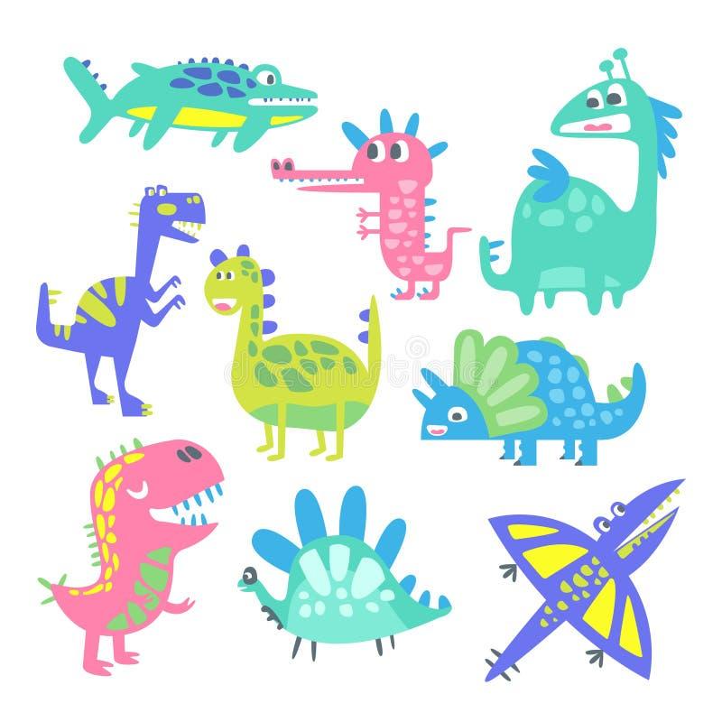 Dinosaurios divertidos de la historieta fijados Ejemplos animales prehistóricos del vector de los caracteres ilustración del vector