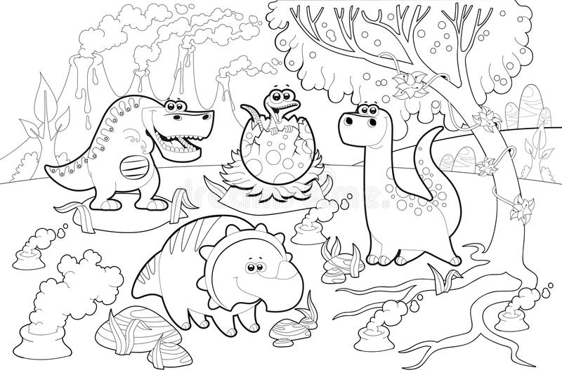 Dinosaurios divertidos en un paisaje prehistórico, blanco y negro. stock de ilustración