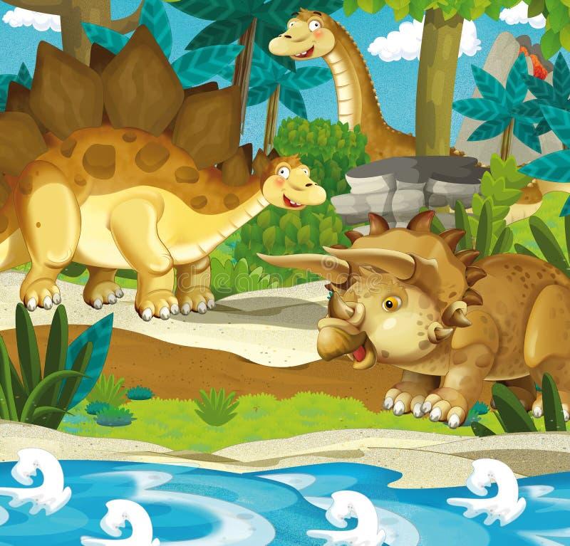 Dinosaurios felices de la historieta - triceratops del stegosaurus del diplodocus stock de ilustración