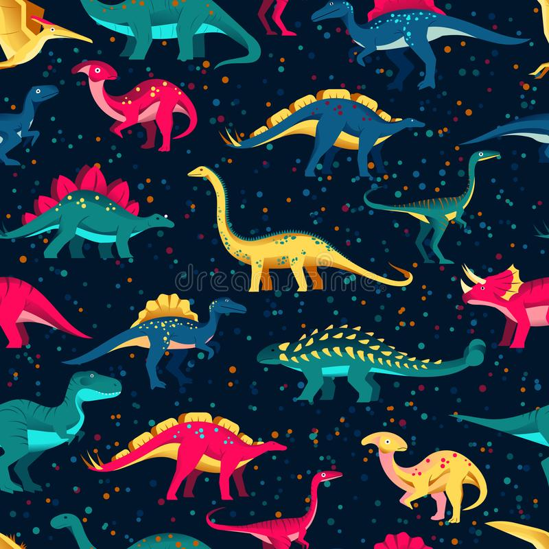 Dinosaurios lindos coloridos en fondo negro Vector el modelo incons?til Los niños de la historieta de la materia textil de la div ilustración del vector