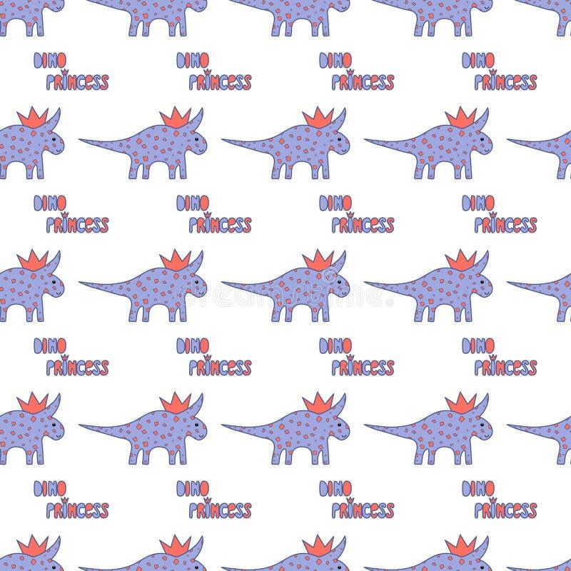 Dinosaurios lindos con el modelo inconsútil de las coronas en el fondo blanco Textura de Dino del vector para los niños Diseño pa libre illustration
