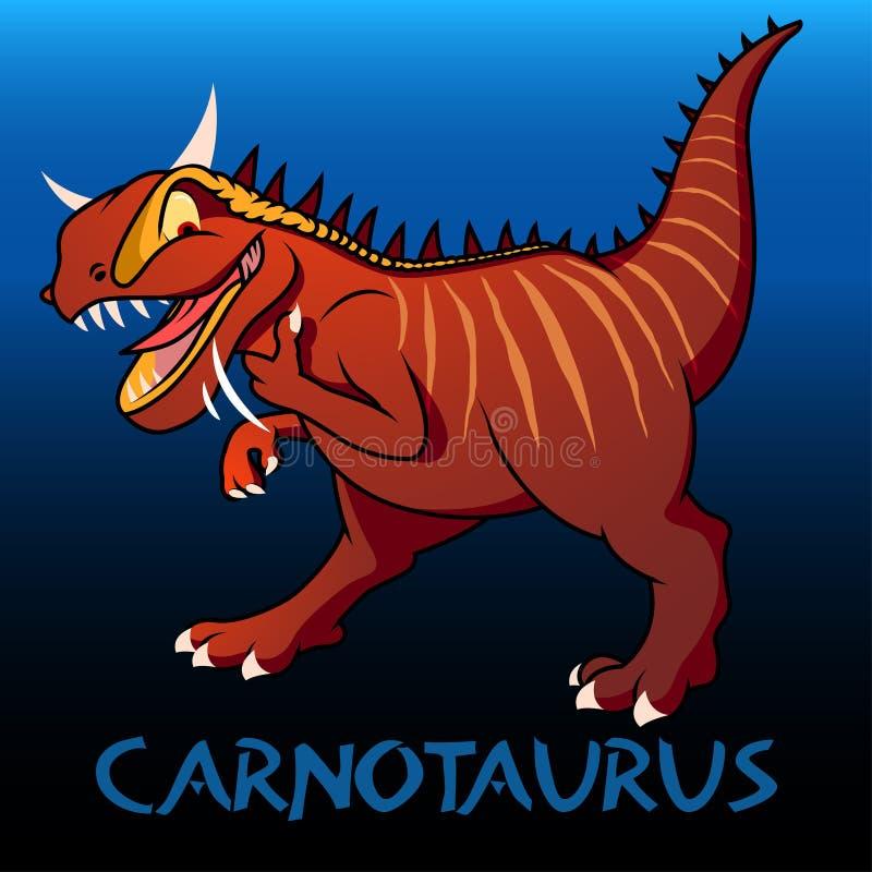 Dinosaurios lindos del carácter del Carnotaurus ilustración del vector