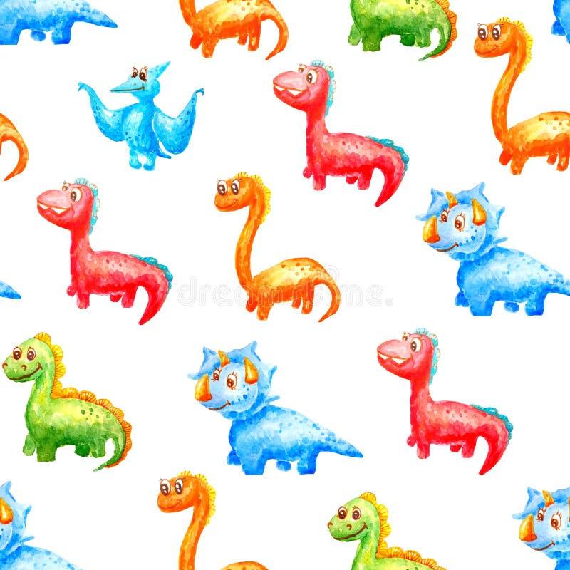 Dinosaurios lindos del modelo incons?til de la acuarela de diversos colores y tipos en un fondo blanco ilustración del vector
