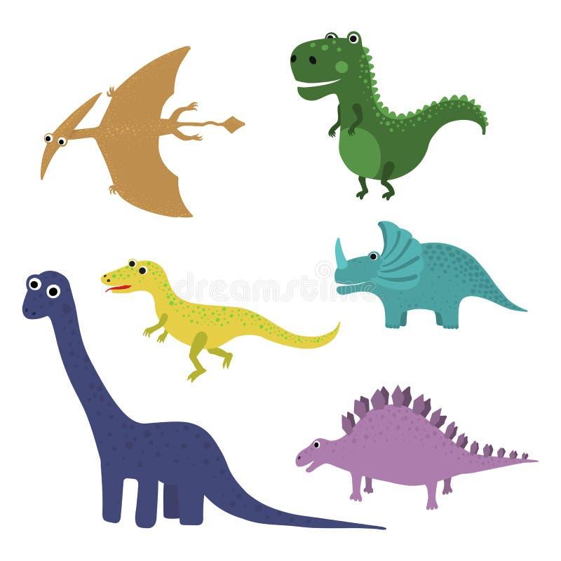 Dinosaurios lindos del vector aislados en el fondo blanco ilustración del vector