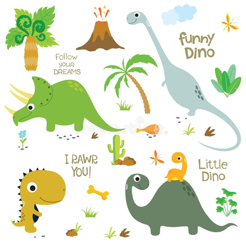 Dinosaurios lindos fijados ilustración del vector