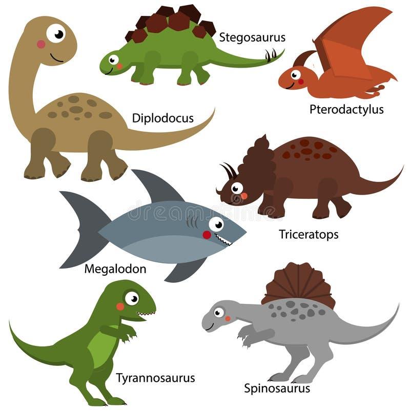 Dinosaurios lindos fijados Los caracteres de Dino de la historieta, los elementos aislados para los niños diseñan El Diplodocus,  ilustración del vector