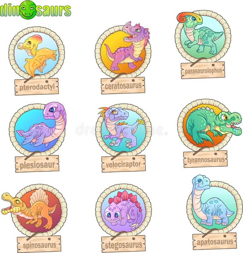 Dinosaurios prehistóricos lindos, sistema de imágenes divertidas stock de ilustración