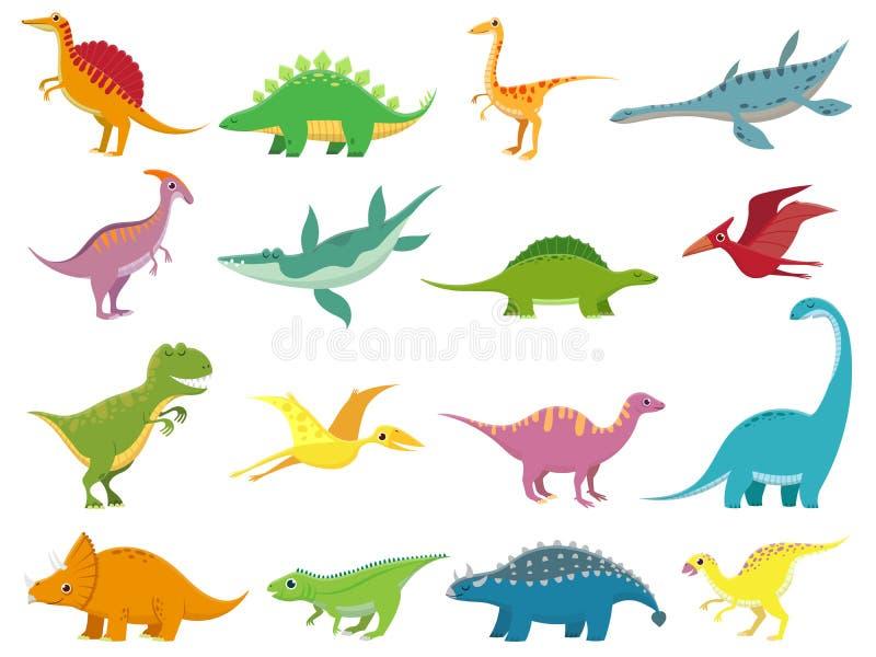Dinosaurios sonrientes adorables Dinosaurio lindo del stegosaurus del bebé Los animales prehistóricos de la historieta de la era  libre illustration