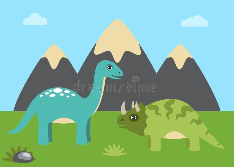 Dinosaurios y naturaleza con el ejemplo del vector del cielo ilustración del vector