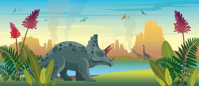 Dinosaurios y naturaleza prehist?rica stock de ilustración