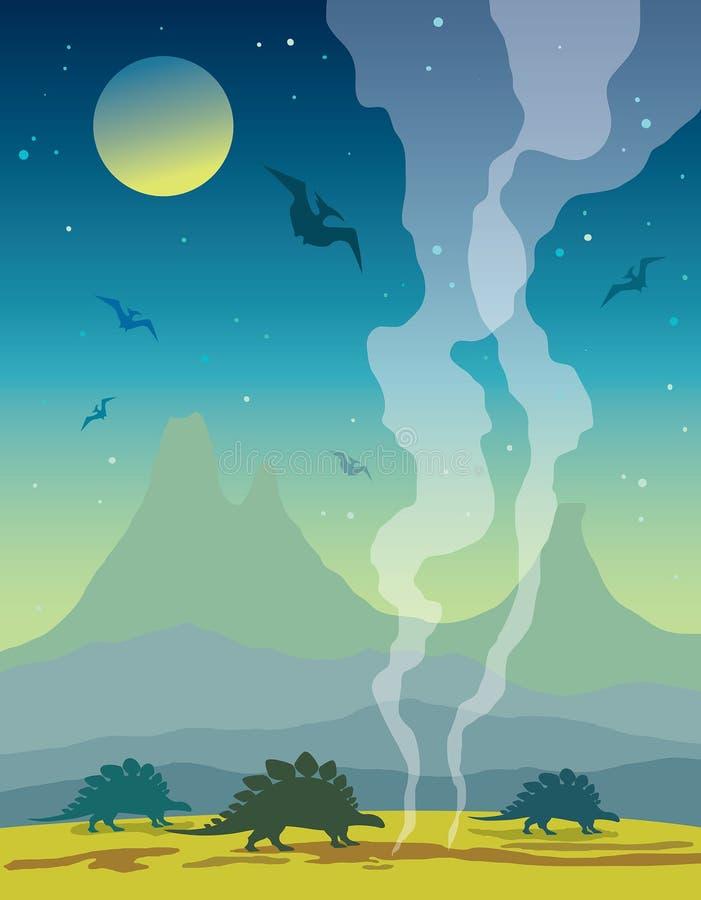 Dinosaurios y naturaleza prehist?rica ilustración del vector