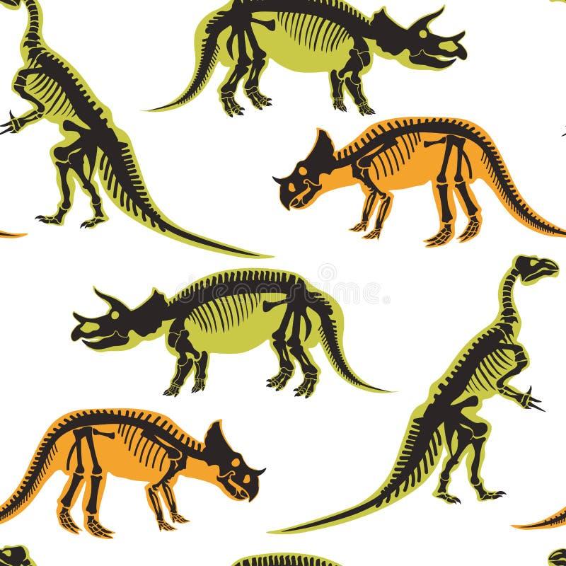 Dinosaurios y tipos del pterodáctilo de modelo inconsútil de los animales aislado en el vector blanco del fondo libre illustration