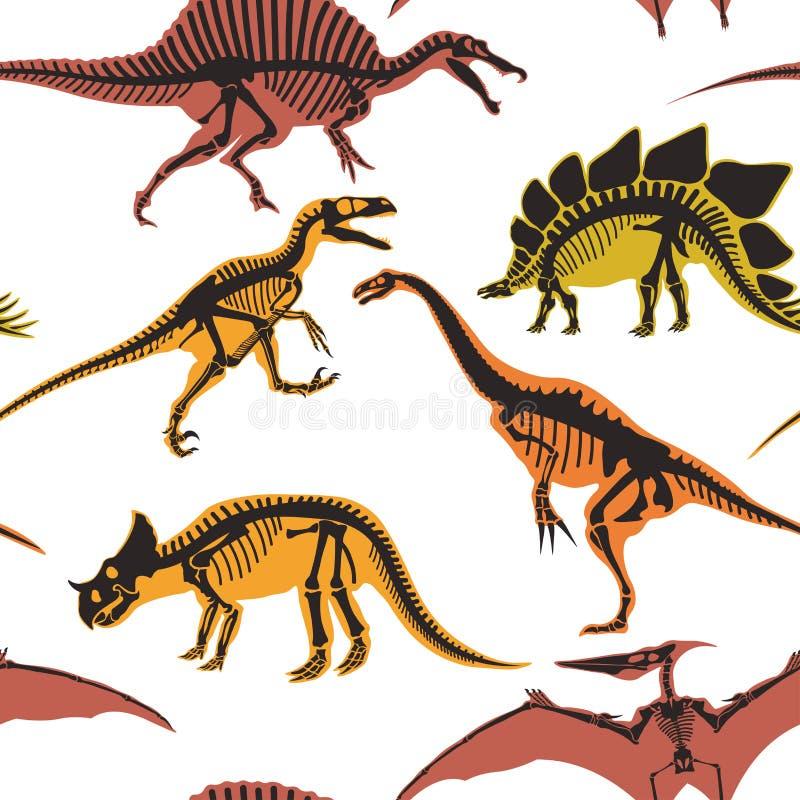 Dinosaurios y tipos del pterodáctilo de modelo inconsútil de los animales aislado en el vector blanco del fondo ilustración del vector