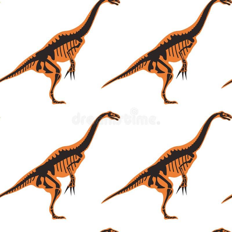 Dinosaurios y tipos del pterodáctilo de modelo inconsútil de los animales aislado en el vector blanco del fondo stock de ilustración