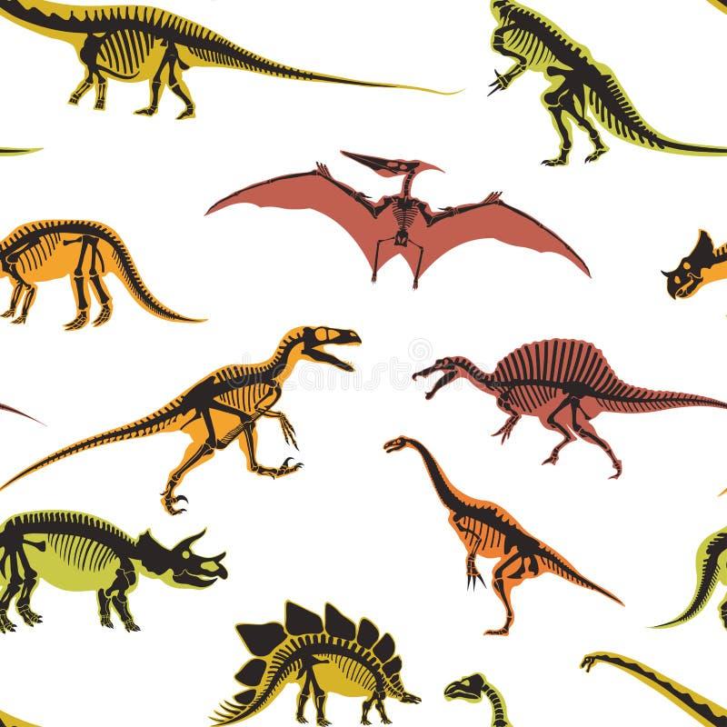 Dinosaurios y tipos del pterodáctilo de vector inconsútil del modelo de los animales ilustración del vector