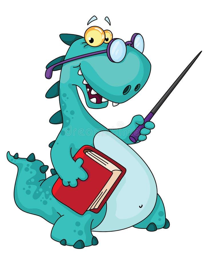 dinosaurlärare royaltyfri illustrationer