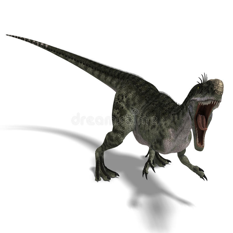 dinosaurmonolophosaurus stock illustrationer
