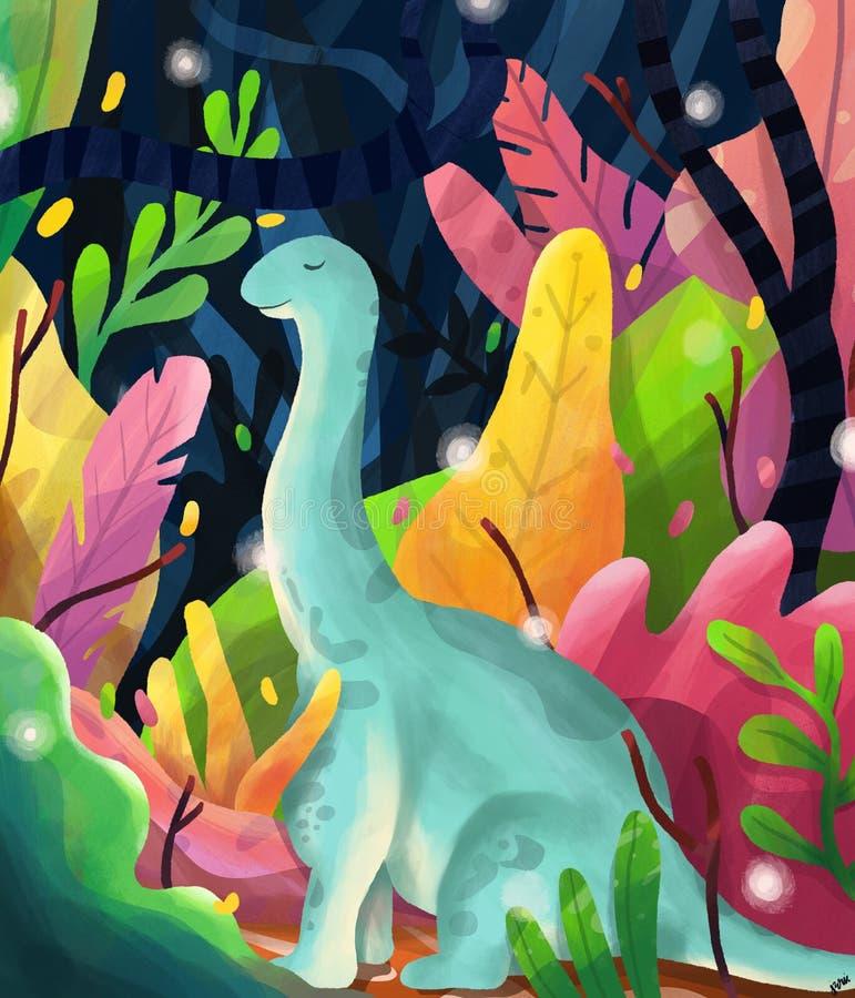 Dinosauro blu illustrazione vettoriale