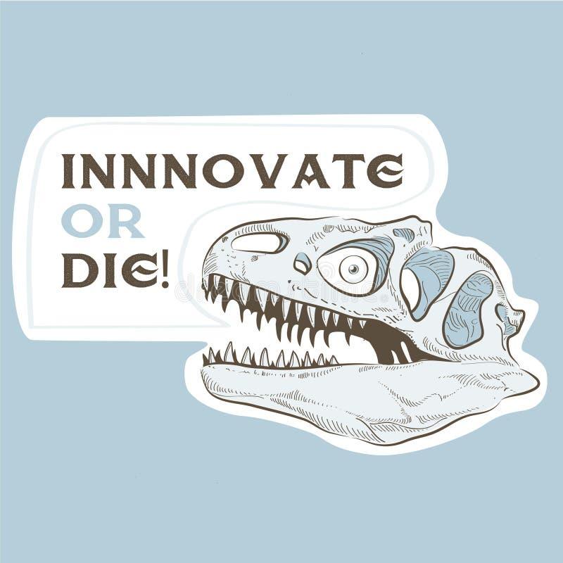Dinosauro capo del cranio con l'illustrazione profonda di sguardo fotografia stock libera da diritti
