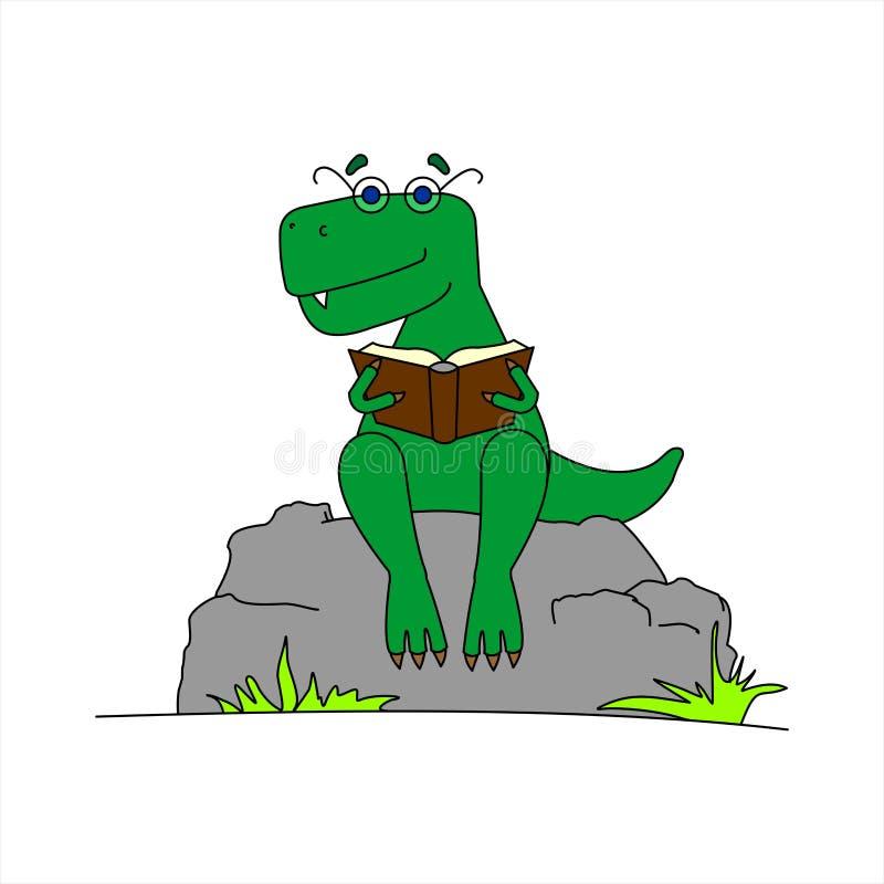 Dinosauro con occhiali per leggere un libro Smart Dinosaur Un Tyrannosaurus negli occhiali è seduto su una pietra con un libro ne illustrazione di stock