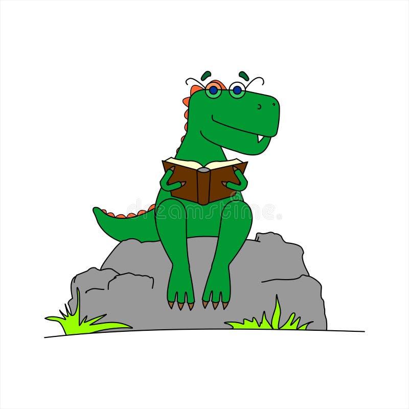 Dinosauro con occhiali per leggere un libro Smart Dinosaur Un Tyrannosaurus con una cresta sulla schiena e gli occhiali sono punt royalty illustrazione gratis