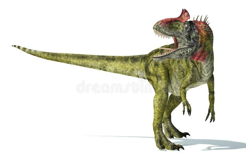 Dinosauro del Cryolophosaurus, rappresentazione fotorealistica. Dinamico illustrazione vettoriale