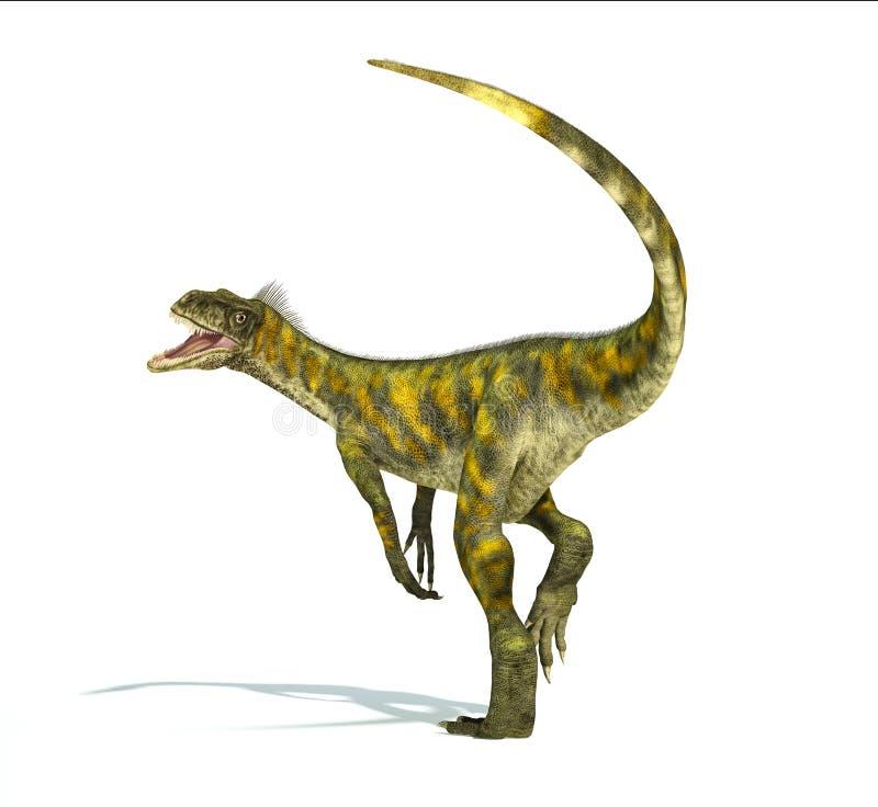 Dinosauro di Herrerasaurus, rappresentazione fotorealistica. V dinamica illustrazione di stock