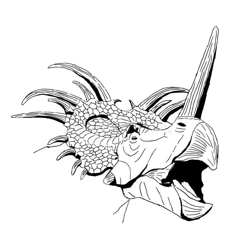 Dinosauro disegnato a mano isolato dello styracosaurus, illustrazione di vettore royalty illustrazione gratis
