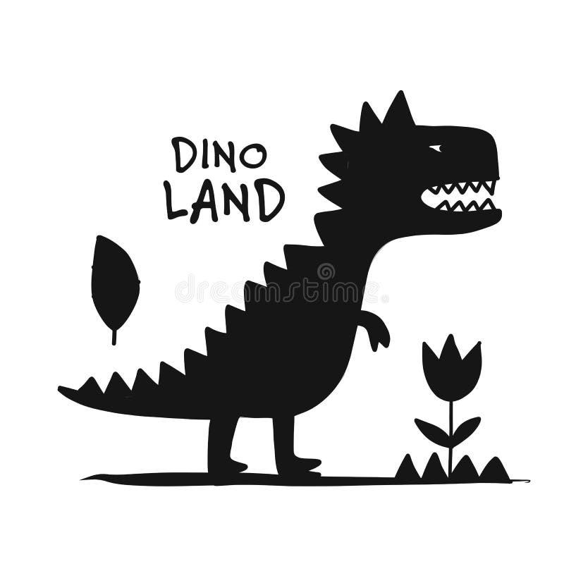 Dinosauro divertente, siluetta nera, stile puerile per la vostra progettazione illustrazione di stock
