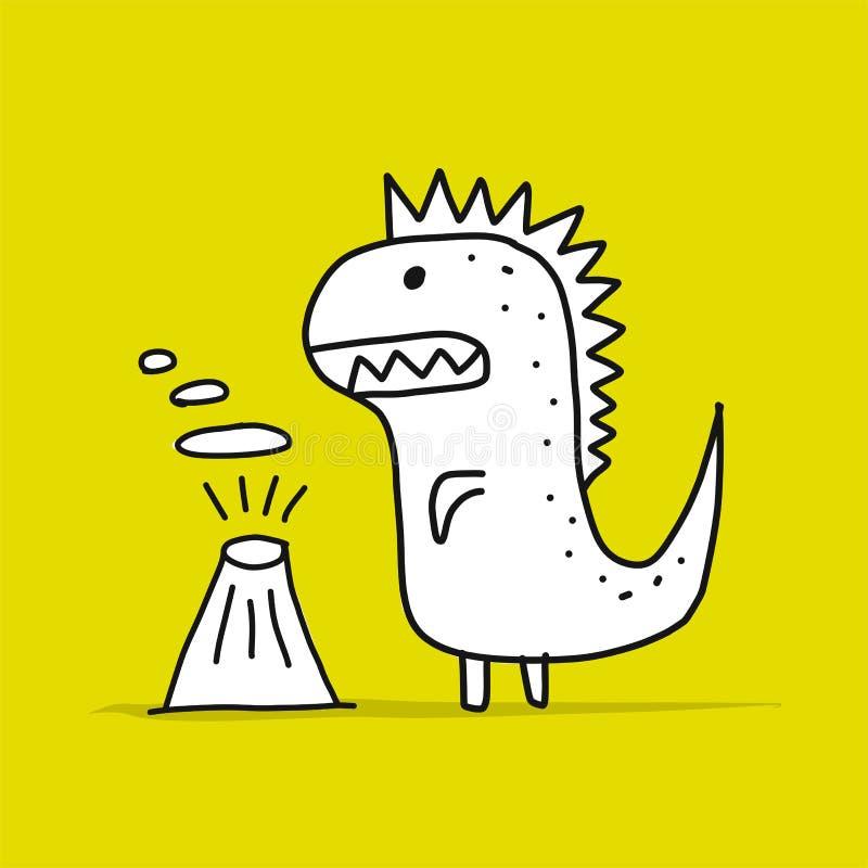 Dinosauro divertente, stile puerile Schizzo per la vostra progettazione illustrazione di stock
