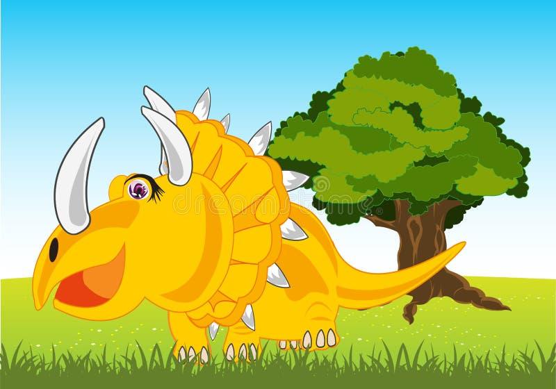 Dinosauro Eotriceratops sulla radura di anno Fumetto del dinosauro antico illustrazione vettoriale
