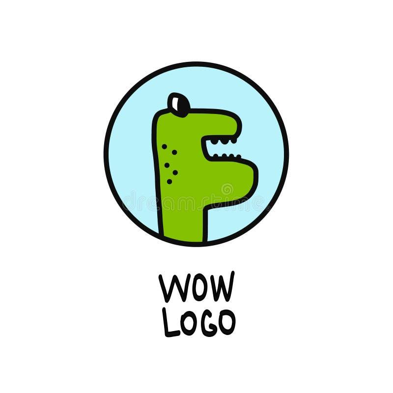 Dinosauro, logo di vettore del sauropod isolato su bianco royalty illustrazione gratis