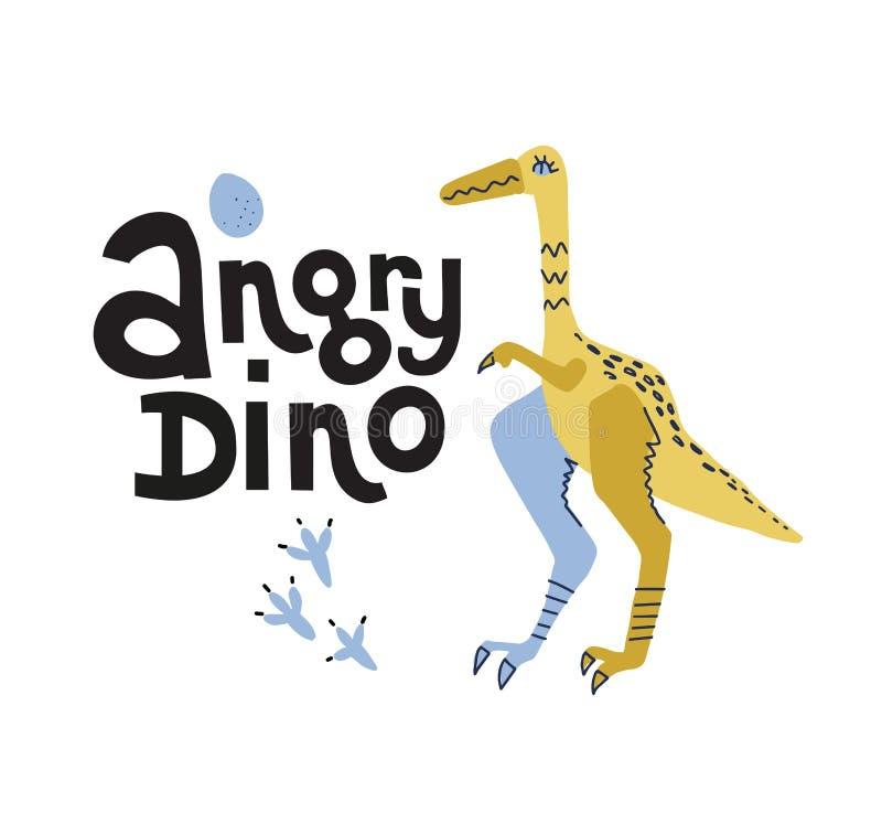 Dinosauro messo le piume a di Struthiomimus con il carattere disegnato a mano di vettore di colore dell'uovo con l'iscrizione del illustrazione di stock