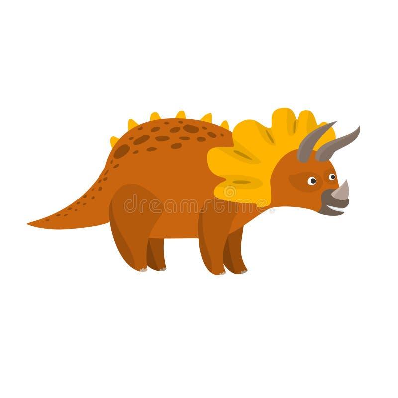 Dinosauro piano sveglio del triceratopo del fumetto di vettore illustrazione di stock