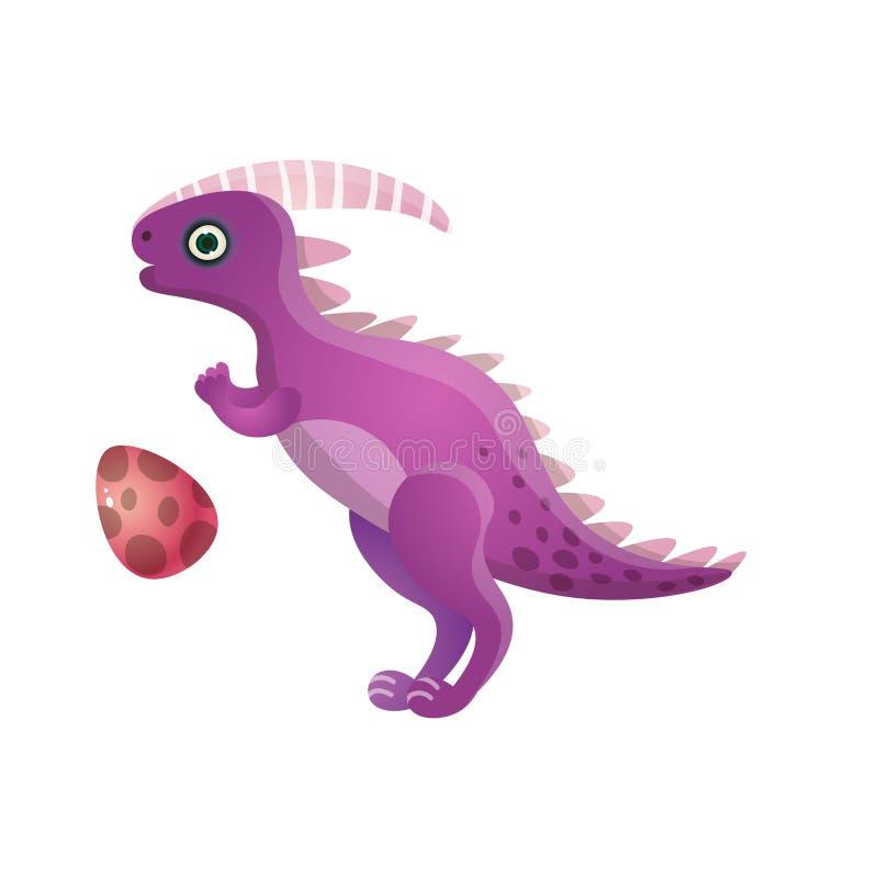 Dinosauro punteggiato sveglio viola con l'uovo del bambino del cerchio royalty illustrazione gratis
