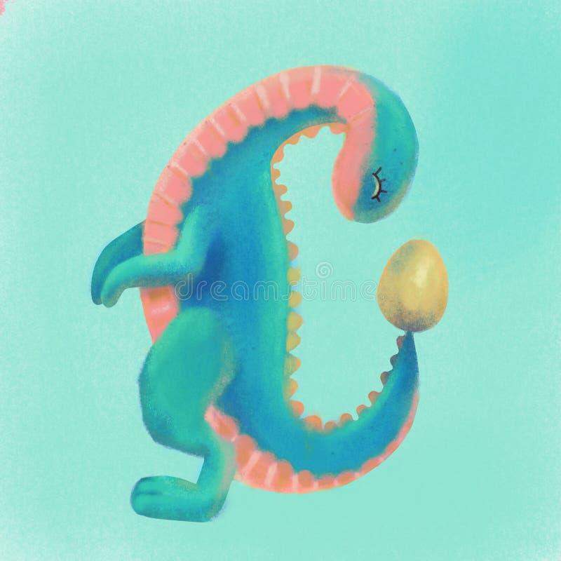 Dinosauro sveglio rosa del turchese che considera uovo Illustrazione strutturata pastello di Dino del fumetto disegnato a mano de fotografie stock libere da diritti