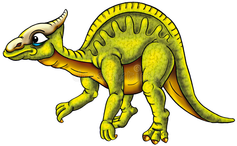Dinosauro verde illustrato illustrazione vettoriale