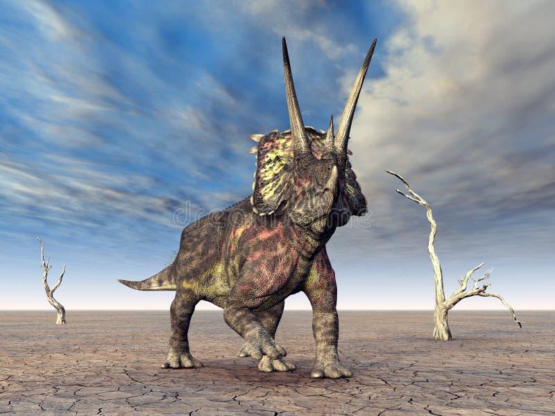 dinosaurpentaceratops royaltyfri illustrationer