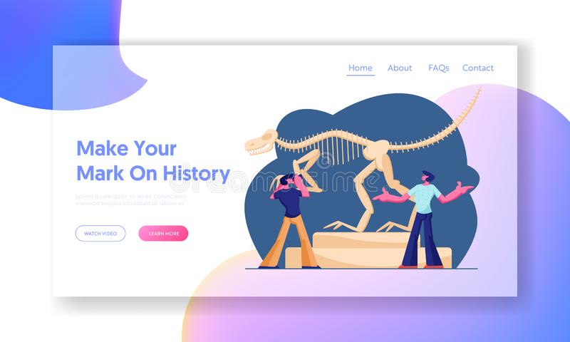 Dinosaurs Archaeological Exhibition. Website Landing Page, Couple of Men Visiting Paleontology Museum, Tyrannosaur Rex Bones vector illustration