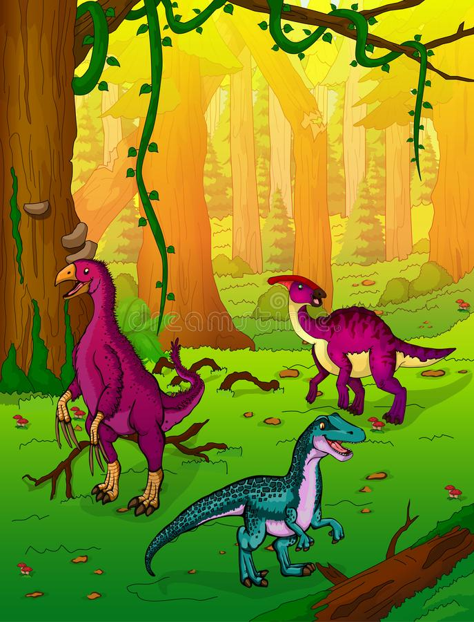Dinosaurs on the background of forest royalty free illustration